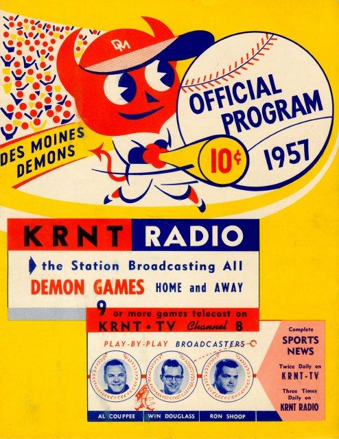 KRNT Baseball Program 1957 Des Moines Demons